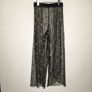 Sheer Black/Gold Floral Split Leg Swim Cover Pants